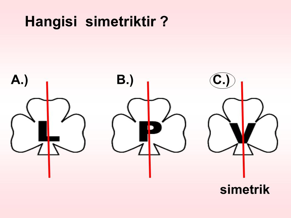Hangisi simetriktir A.) B.) C.) simetrik