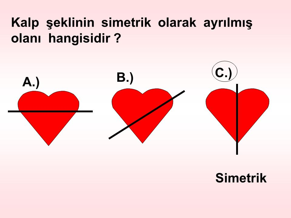 Kalp şeklinin simetrik olarak ayrılmış olanı hangisidir