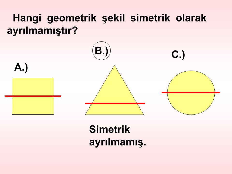 Hangi geometrik şekil simetrik olarak ayrılmamıştır