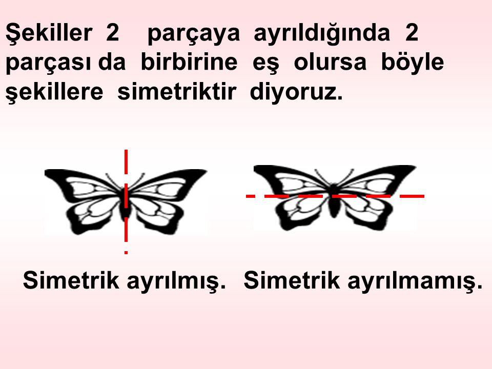 Şekiller 2 parçaya ayrıldığında 2 parçası da birbirine eş olursa böyle şekillere simetriktir diyoruz.