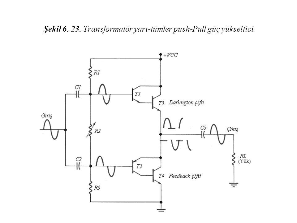Şekil 6. 23. Transformatör yarı-tümler push-Pull güç yükseltici