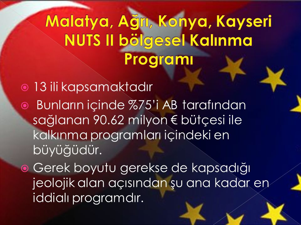 Malatya, Ağrı, Konya, Kayseri NUTS II bölgesel Kalınma Programı