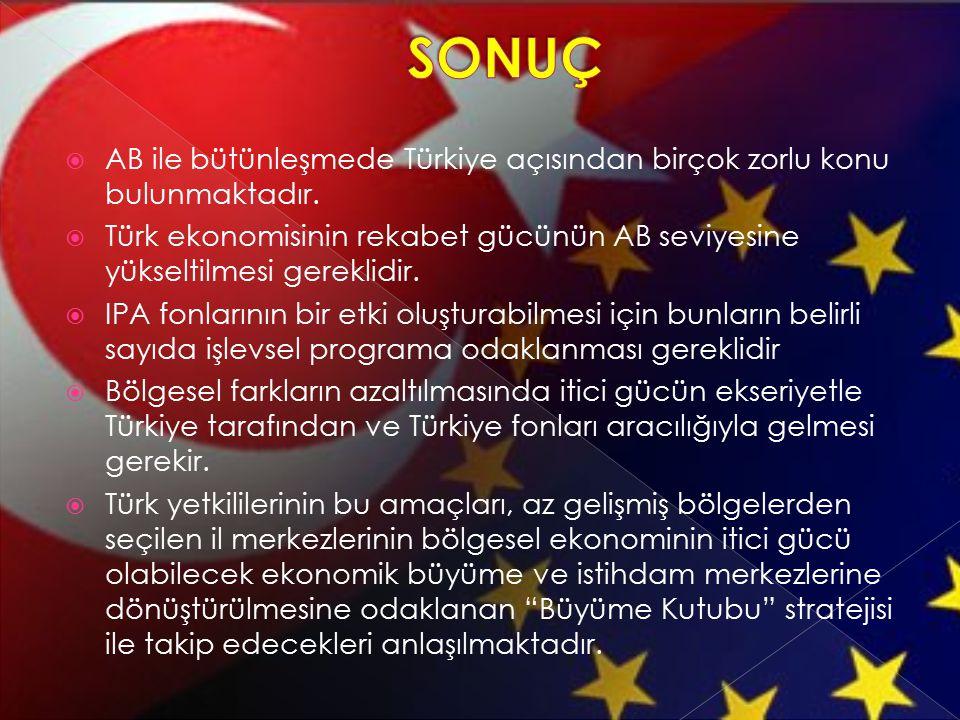SONUÇ AB ile bütünleşmede Türkiye açısından birçok zorlu konu bulunmaktadır.