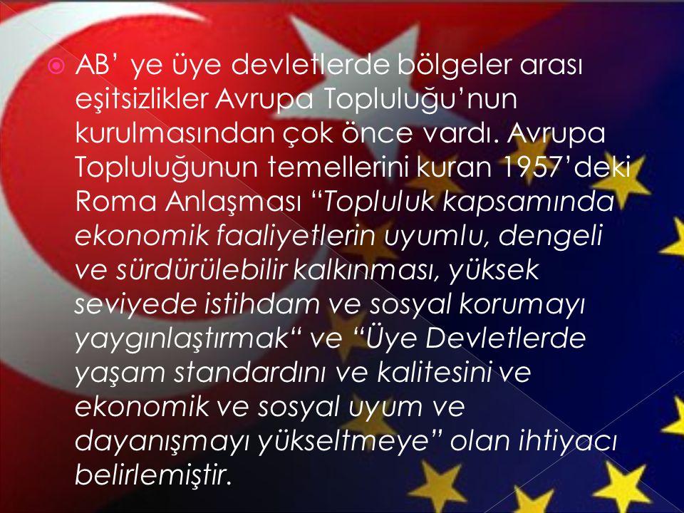 AB' ye üye devletlerde bölgeler arası eşitsizlikler Avrupa Topluluğu'nun kurulmasından çok önce vardı.
