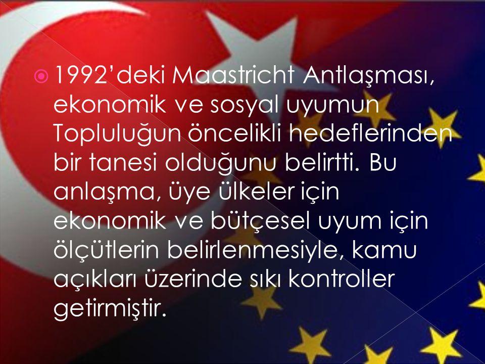 1992'deki Maastricht Antlaşması, ekonomik ve sosyal uyumun Topluluğun öncelikli hedeflerinden bir tanesi olduğunu belirtti.