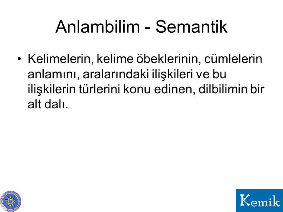 Anlambilim - Semantik