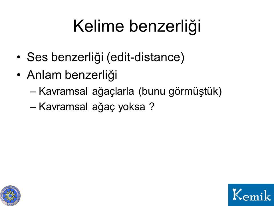 Kelime benzerliği Ses benzerliği (edit-distance) Anlam benzerliği