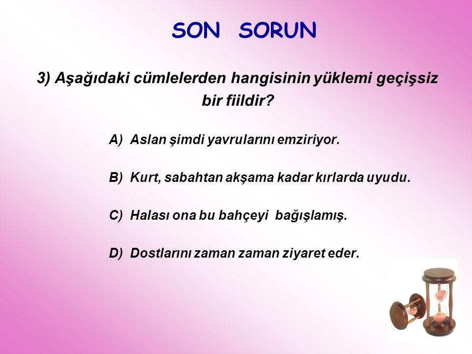 SON SORUN 3) Aşağıdaki cümlelerden hangisinin yüklemi geçişsiz