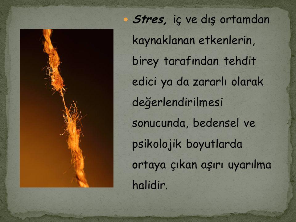 Stres, iç ve dış ortamdan kaynaklanan etkenlerin, birey tarafından tehdit edici ya da zararlı olarak değerlendirilmesi sonucunda, bedensel ve psikolojik boyutlarda ortaya çıkan aşırı uyarılma halidir.