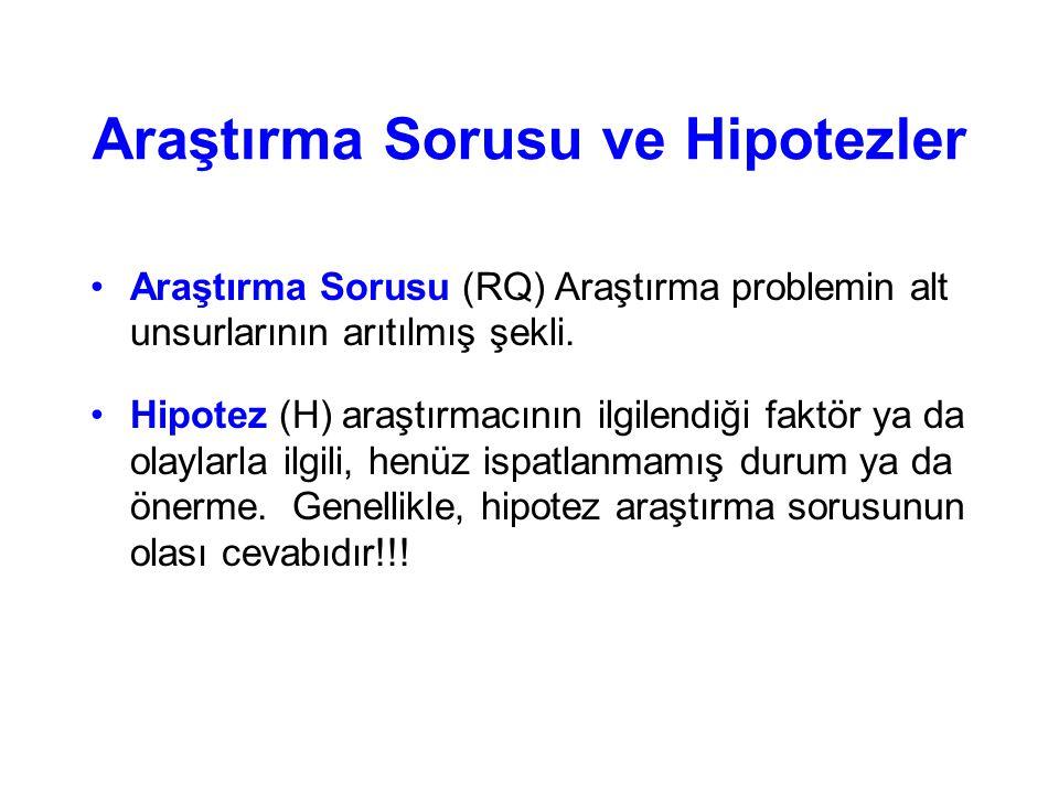Araştırma Sorusu ve Hipotezler