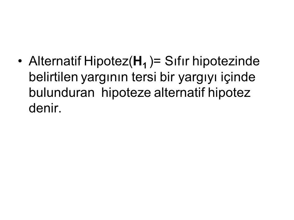 Alternatif Hipotez(H1 )= Sıfır hipotezinde belirtilen yargının tersi bir yargıyı içinde bulunduran hipoteze alternatif hipotez denir.