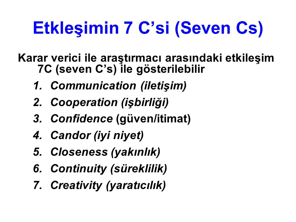Etkleşimin 7 C'si (Seven Cs)