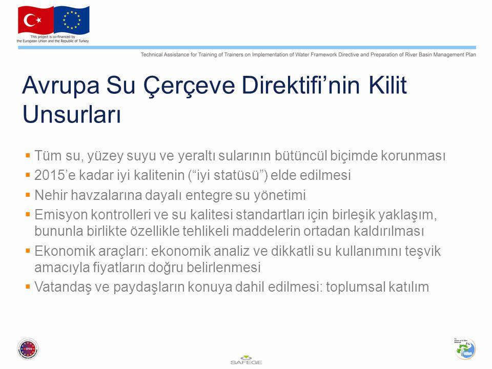 Avrupa Su Çerçeve Direktifi'nin Kilit Unsurları