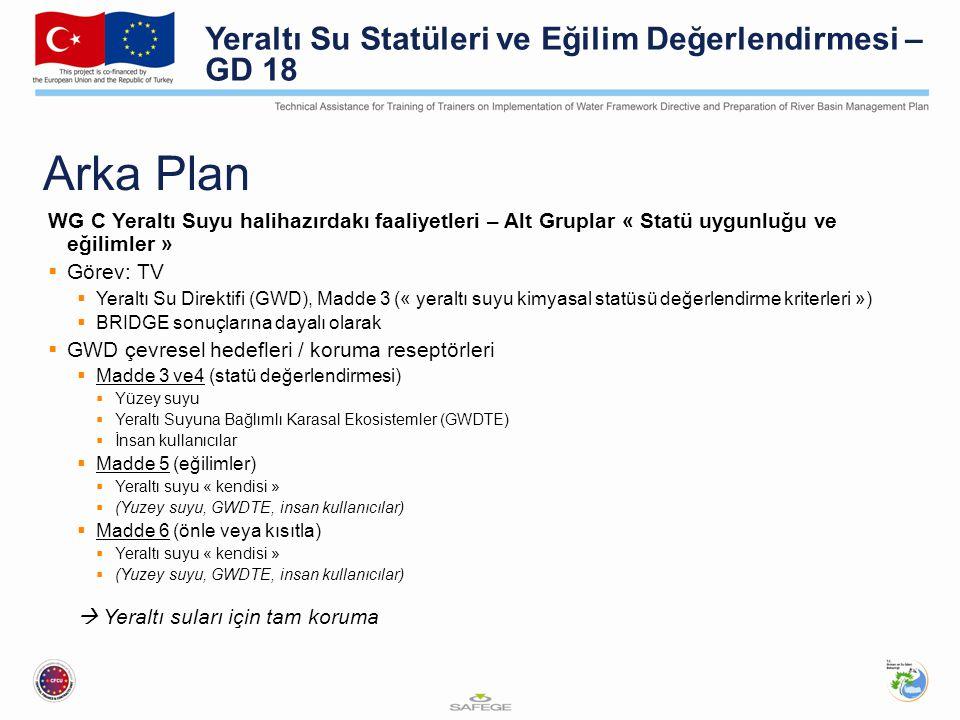 Arka Plan Yeraltı Su Statüleri ve Eğilim Değerlendirmesi – GD 18
