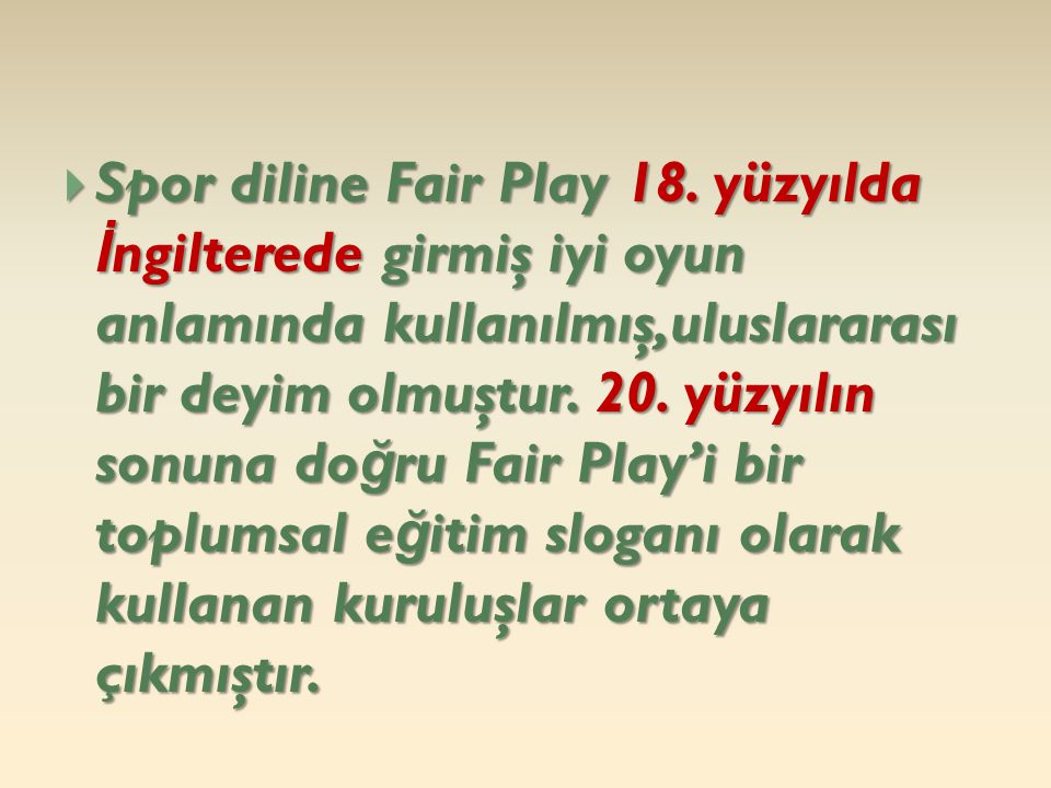Spor diline Fair Play 18.