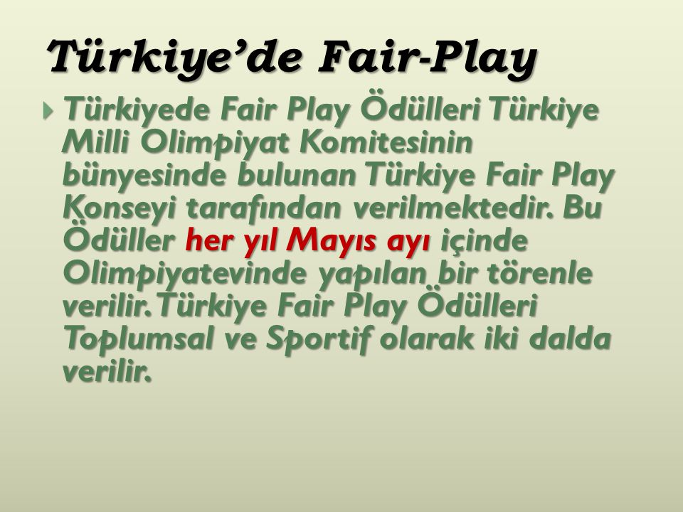 Türkiye'de Fair-Play