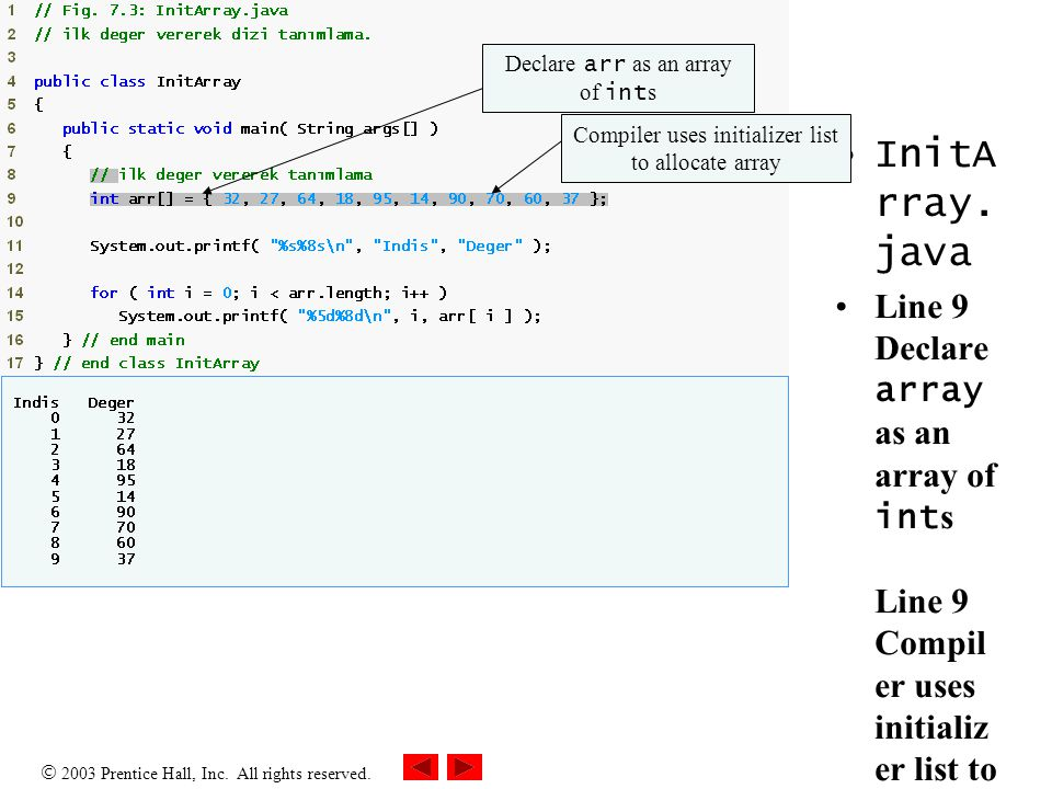 Outline InitArray.java