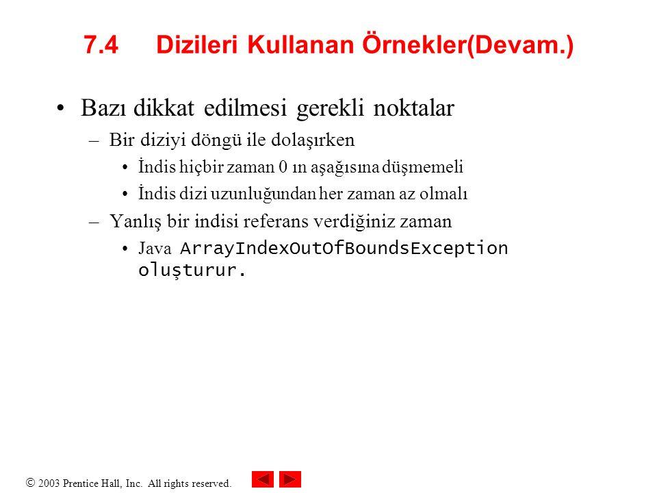 7.4 Dizileri Kullanan Örnekler(Devam.)