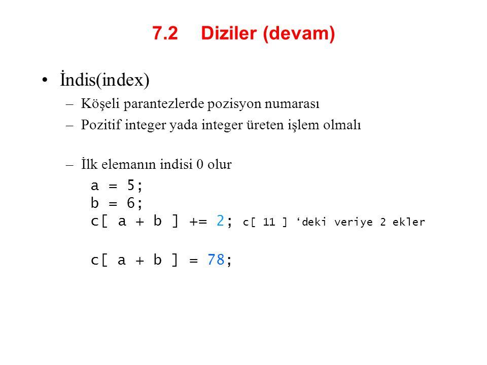 7.2 Diziler (devam) İndis(index)