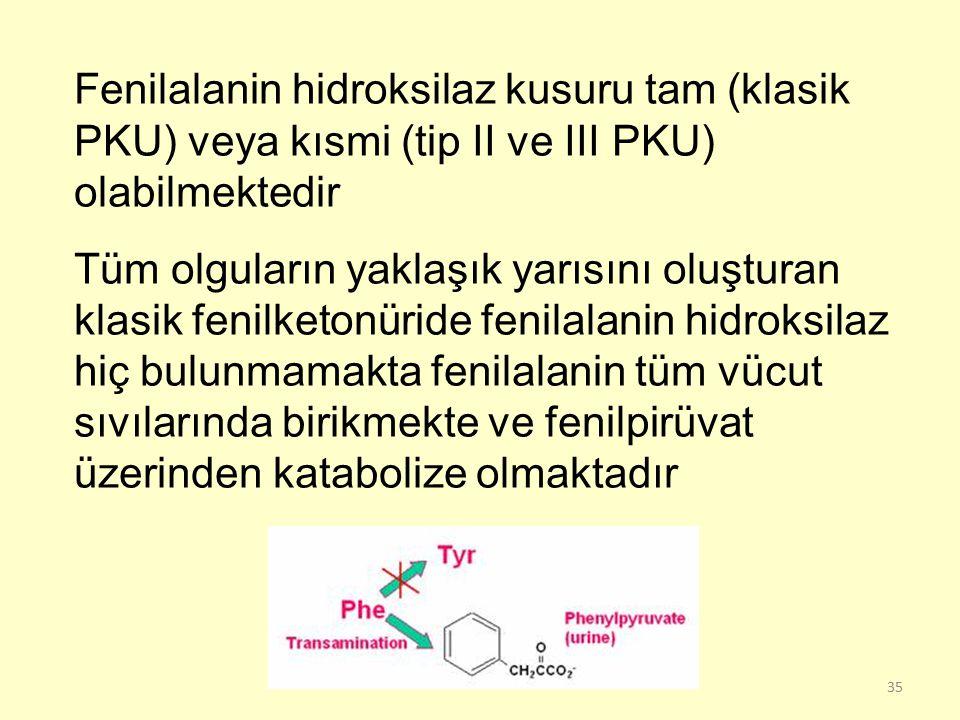 Fenilalanin hidroksilaz kusuru tam (klasik PKU) veya kısmi (tip II ve III PKU) olabilmektedir