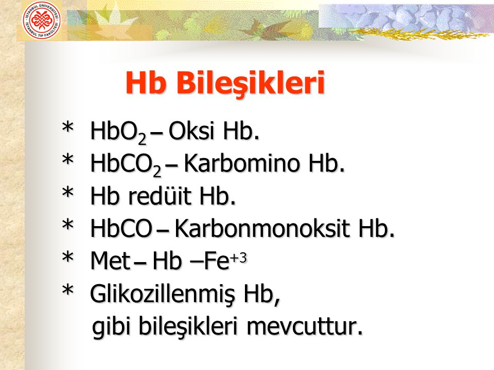 Hb Bileşikleri * HbO2 – Oksi Hb. * HbCO2 – Karbomino Hb.