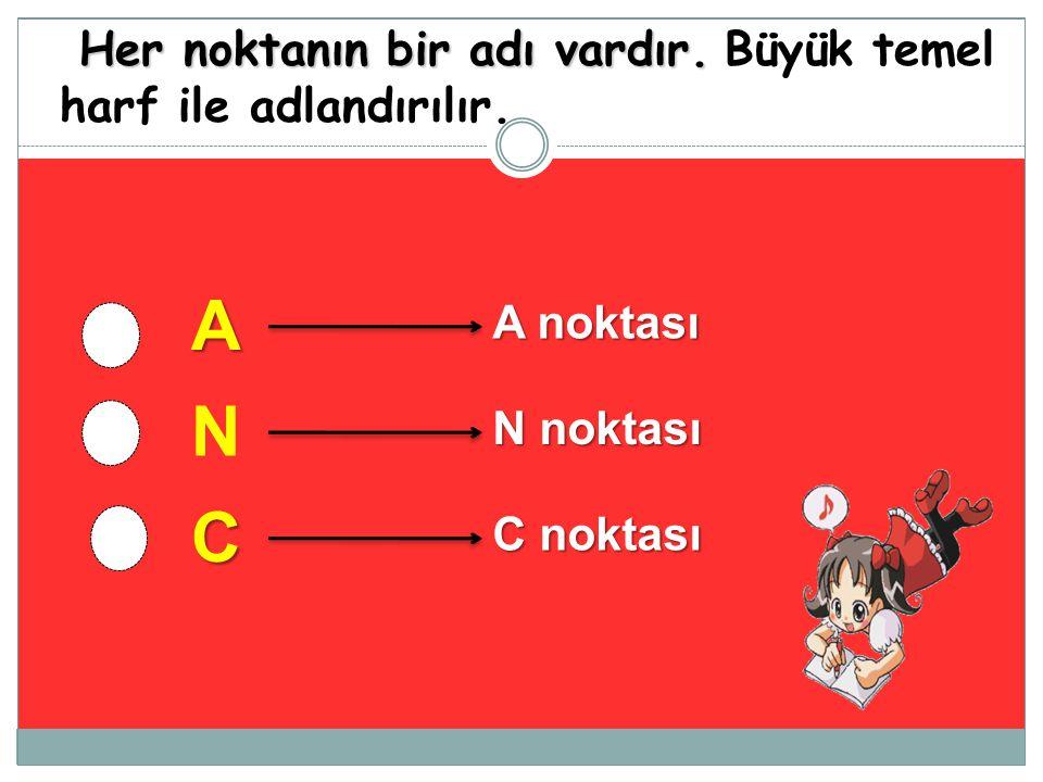 A N C Her noktanın bir adı vardır. Büyük temel harf ile adlandırılır.