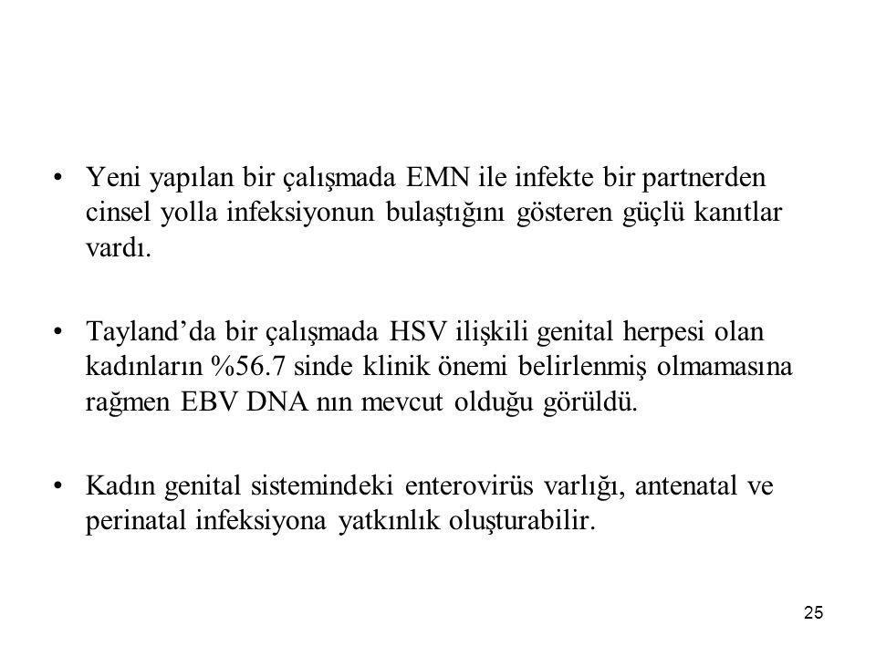 Yeni yapılan bir çalışmada EMN ile infekte bir partnerden cinsel yolla infeksiyonun bulaştığını gösteren güçlü kanıtlar vardı.