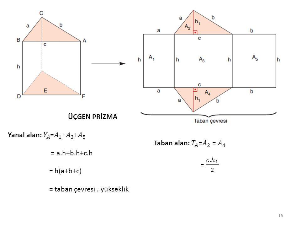 ÜÇGEN PRİZMA Yanal alan: 𝑌 𝐴 = 𝐴 1 + 𝐴 3 + 𝐴 5. = a.h+b.h+c.h. = h(a+b+c) = taban çevresi . yükseklik.