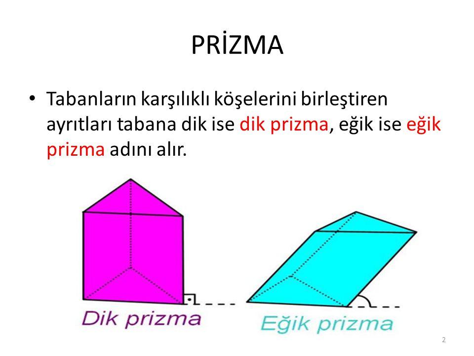 PRİZMA Tabanların karşılıklı köşelerini birleştiren ayrıtları tabana dik ise dik prizma, eğik ise eğik prizma adını alır.