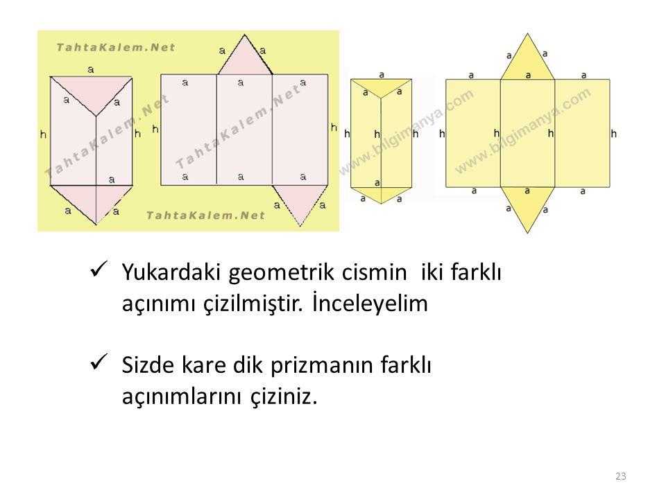 Yukardaki geometrik cismin iki farklı açınımı çizilmiştir. İnceleyelim