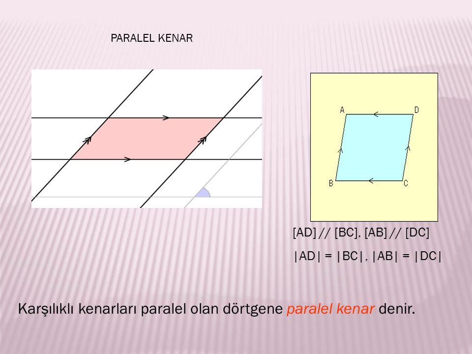 Karşılıklı kenarları paralel olan dörtgene paralel kenar denir.