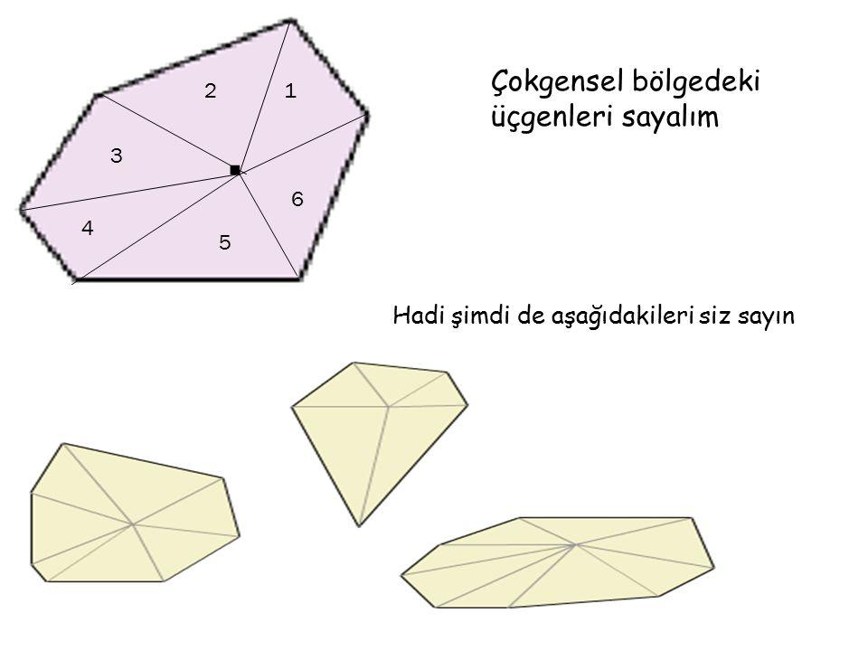 . Çokgensel bölgedeki üçgenleri sayalım