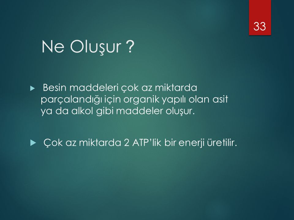 Ne Oluşur Çok az miktarda 2 ATP'lik bir enerji üretilir.