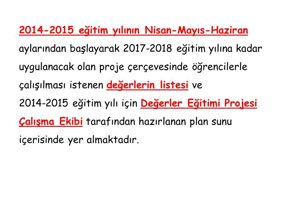 2014-2015 eğitim yılının Nisan-Mayıs-Haziran aylarından başlayarak 2017-2018 eğitim yılına kadar uygulanacak olan proje çerçevesinde öğrencilerle çalışılması istenen değerlerin listesi ve