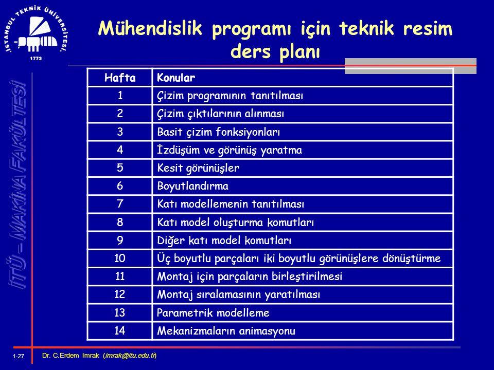 Mühendislik programı için teknik resim ders planı