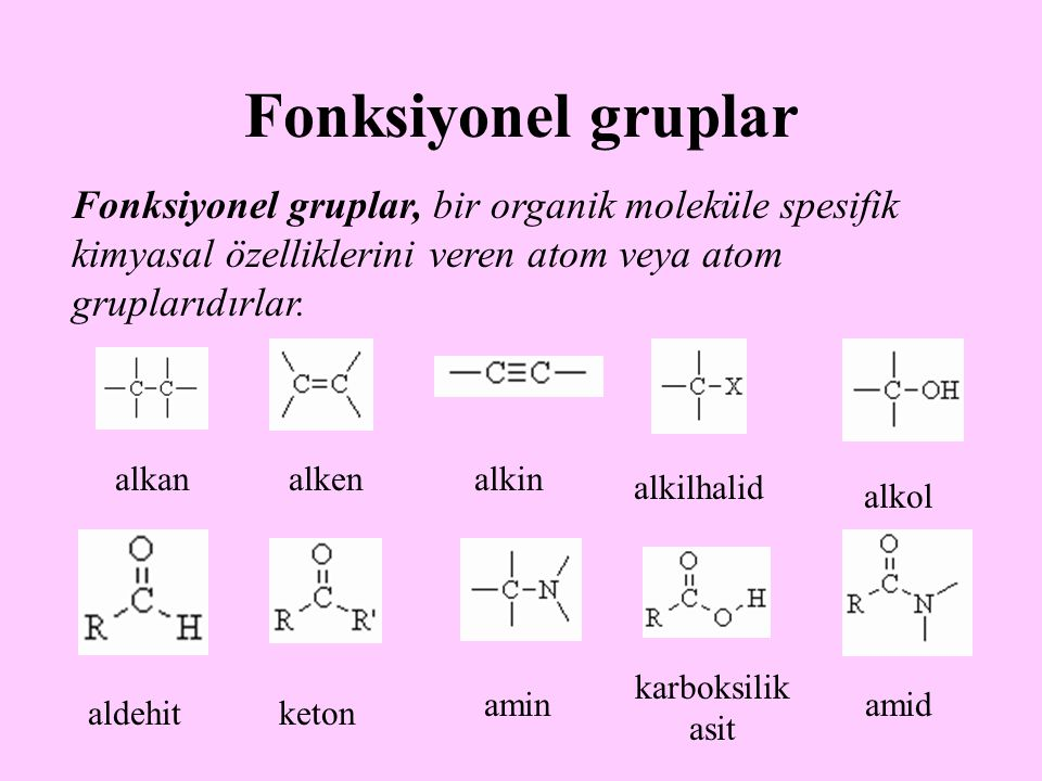Fonksiyonel gruplar Fonksiyonel gruplar, bir organik moleküle spesifik kimyasal özelliklerini veren atom veya atom gruplarıdırlar.