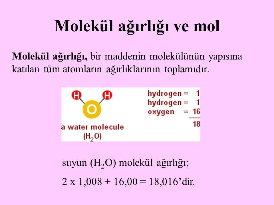 Molekül ağırlığı ve mol