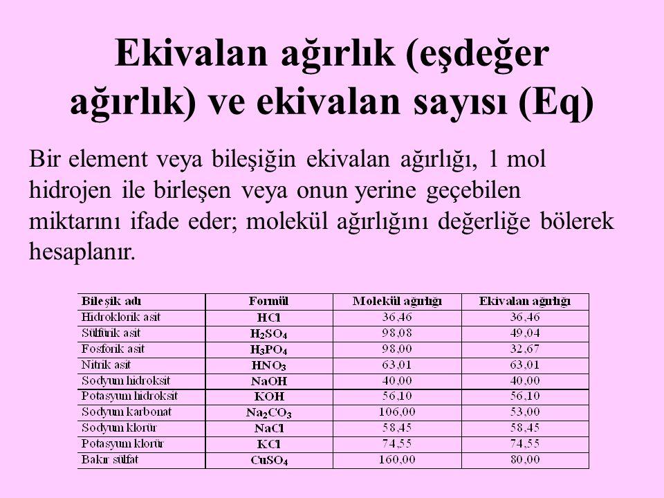 Ekivalan ağırlık (eşdeğer ağırlık) ve ekivalan sayısı (Eq)