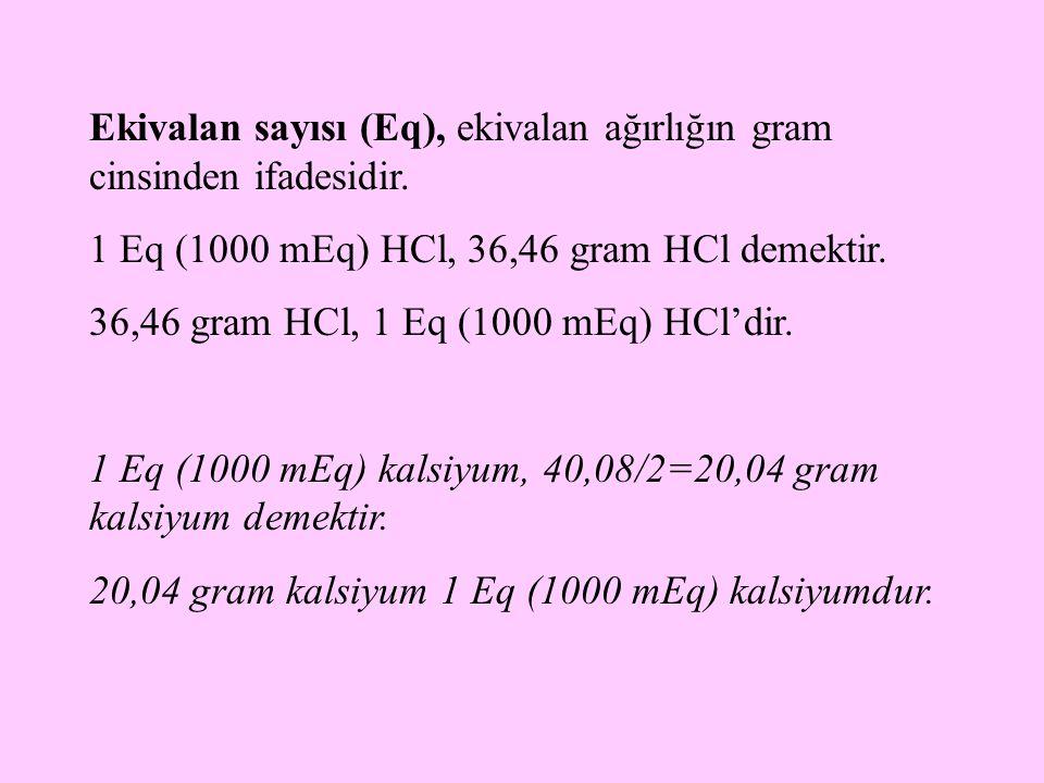 Ekivalan sayısı (Eq), ekivalan ağırlığın gram cinsinden ifadesidir.