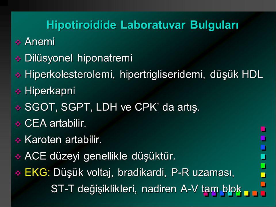 Hipotiroidide Laboratuvar Bulguları