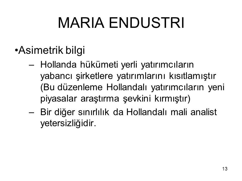 MARIA ENDUSTRI Asimetrik bilgi