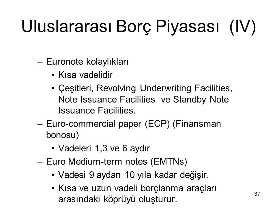 Uluslararası Borç Piyasası (IV)