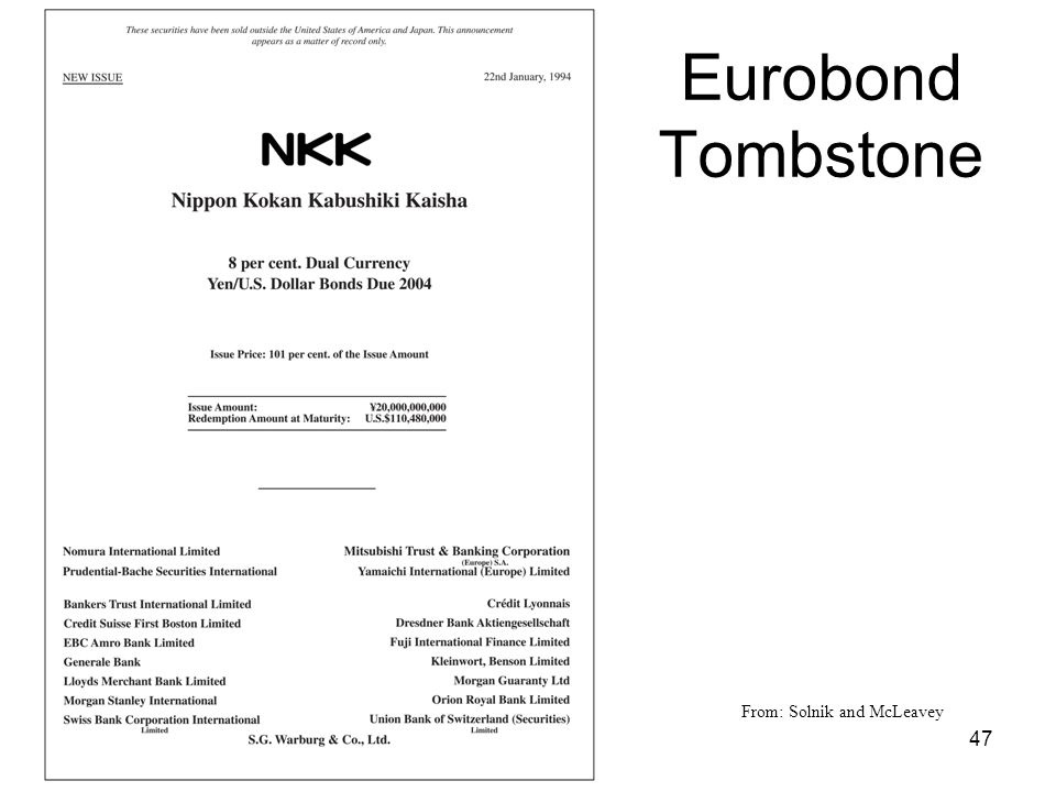 Eurobond Tombstone From: Solnik and McLeavey