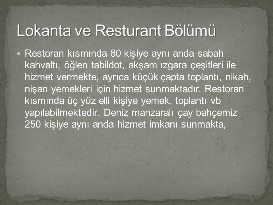 Lokanta ve Resturant Bölümü
