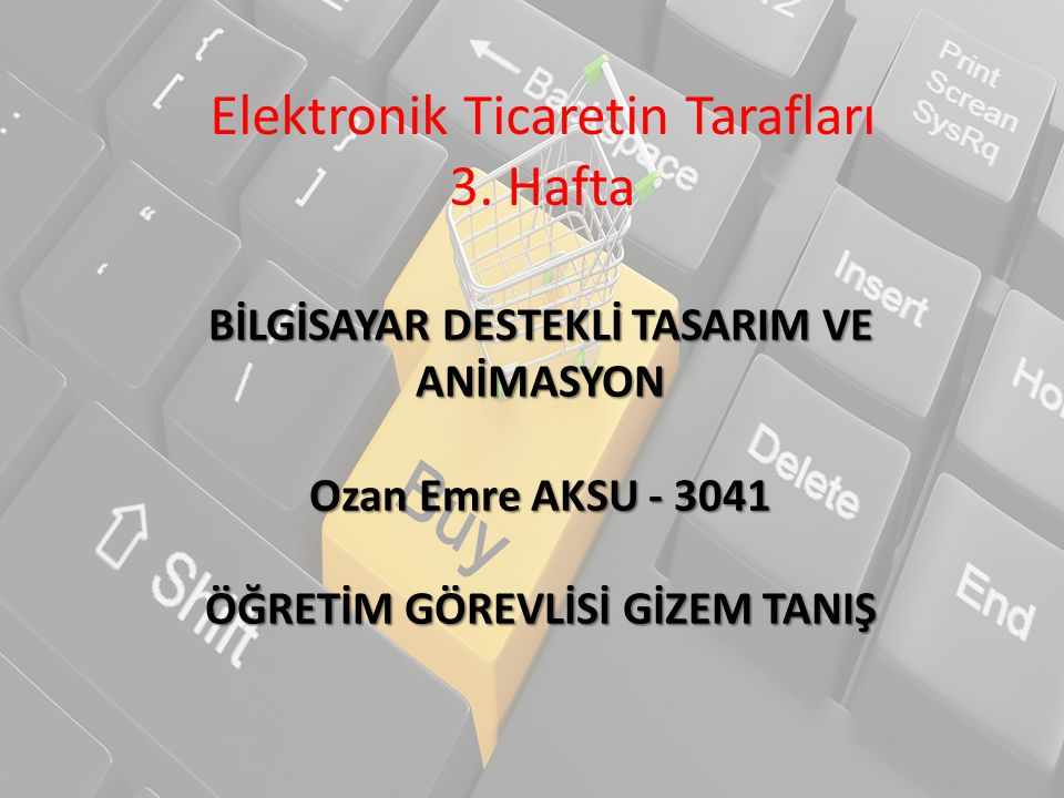 Elektronik Ticaretin Tarafları 3. Hafta