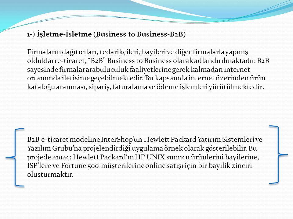 1-) İşletme-İşletme (Business to Business-B2B)