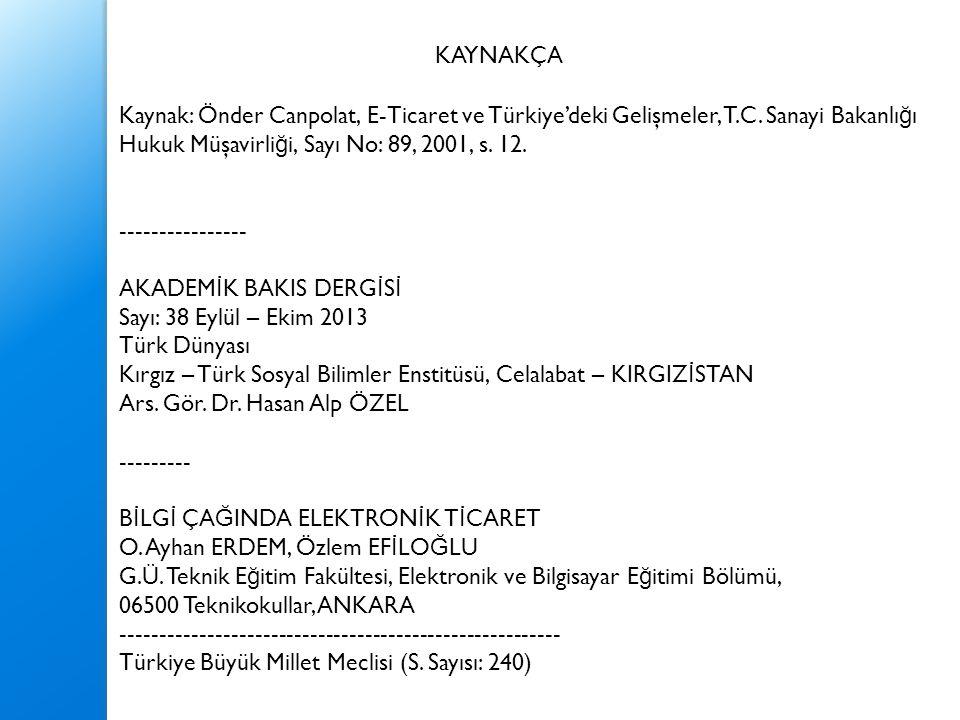 KAYNAKÇA Kaynak: Önder Canpolat, E-Ticaret ve Türkiye'deki Gelişmeler, T.C. Sanayi Bakanlığı. Hukuk Müşavirliği, Sayı No: 89, 2001, s. 12.