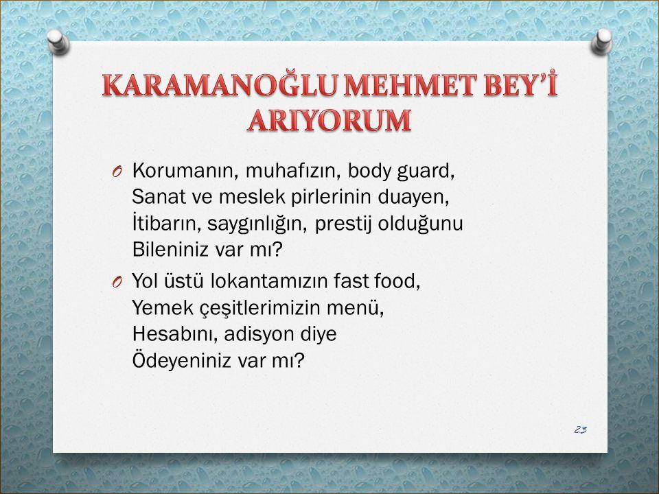 KARAMANOĞLU MEHMET BEY'İ ARIYORUM