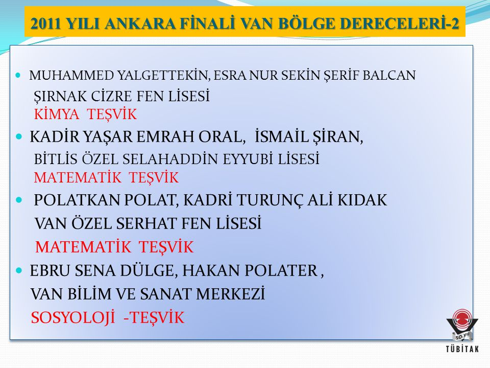 2011 YILI ANKARA FİNALİ VAN BÖLGE DERECELERİ-2