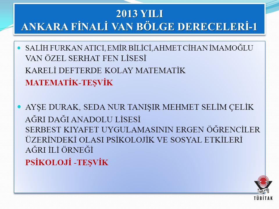 2013 YILI ANKARA FİNALİ VAN BÖLGE DERECELERİ-1
